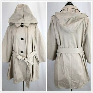 NWOT Kate Spade Beige 3-Button Trench Coat Hooded